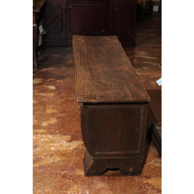 Brown Early 18th Century Italian Hand-Carved Walnut Cassone Chest from Siena For Sale - Image 8 of 10