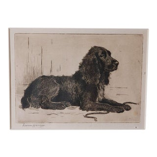 Wonderful Signed 19th Century Pen and Ink of a Dog, Signed Marion Harrier For Sale