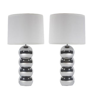 1970's vintage GEORGE KOVACS CHROME STACKED-BALL LAMPS- a pair For Sale