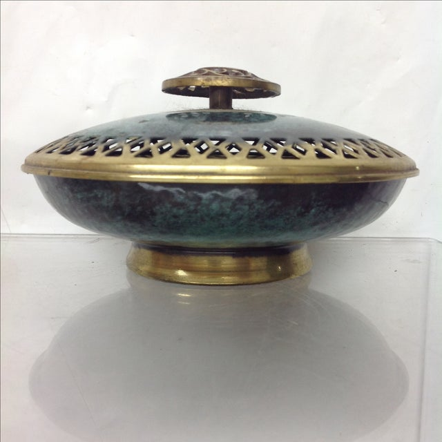 Boho Chic Boho Patinated & Incised Brass Covered Dish For Sale - Image 3 of 3