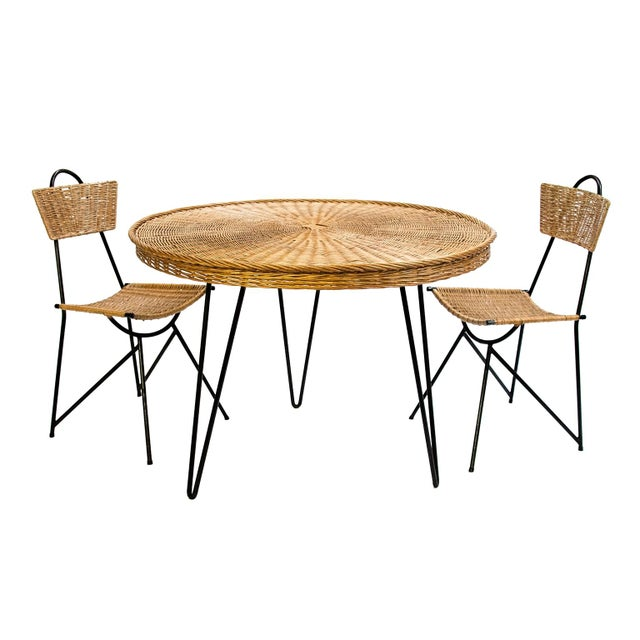 Metal Rattan Chairs and Round Dining Table Set, France 1950's - 5 Pc. Set For Sale - Image 7 of 8