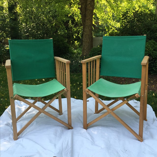 Two Hyllinge Mobler director's/deck chairs made in Denmark. Vintage chairs made of teak wood and canvas seat & back. Works...