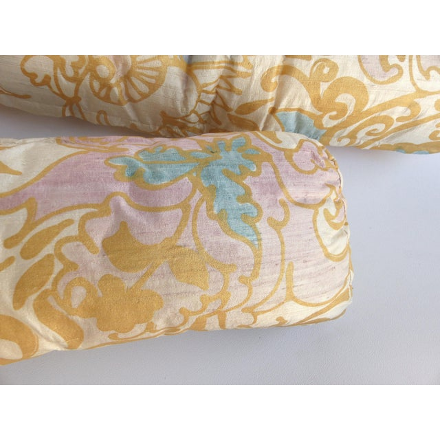 Barbara Beckmann Hand-Printed Silk Bolster Pillows, Pair Offered for sale is a pair of Barbara Beckmann hand painted silk...
