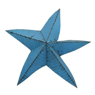 1950s Blue Rustic Oversized Metal Star For Sale