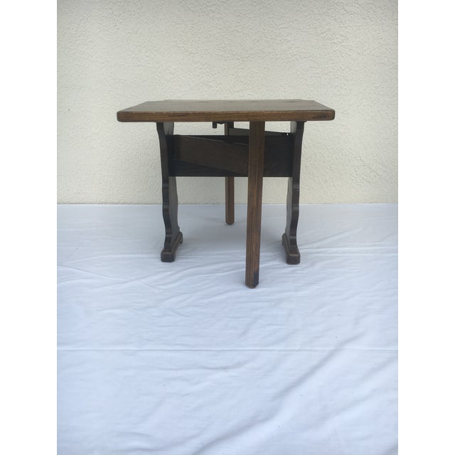 Brown Small Petite Mini Vintage Mid-Century Wood Drop Leaf Side Table For Sale - Image 8 of 13