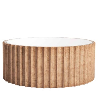 Burled Wood Mirror Top Round Coffee Table For Sale