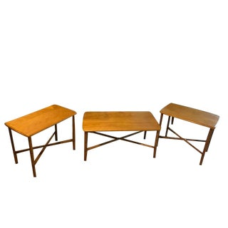 Mid-Century Modern Heywood Wakefield End Tables and Matching Coffee Table - Set of 3 For Sale