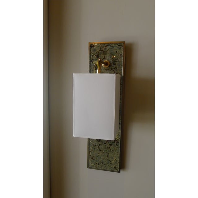 Modern Brass and Marbleized Wall Sconce V2 by Paul Marra For Sale - Image 9 of 13