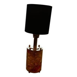1970s Yellow and Orange Fractal Resin Cylindrical Table Lamp With Brass Base For Sale