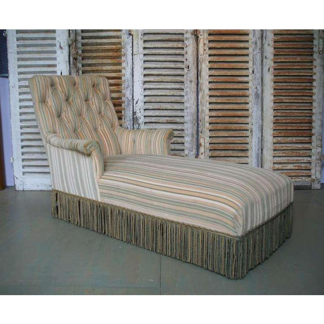 French 19th C. Napoleon III Chaise Lounge in Striped Fabric - Image 3 of 11