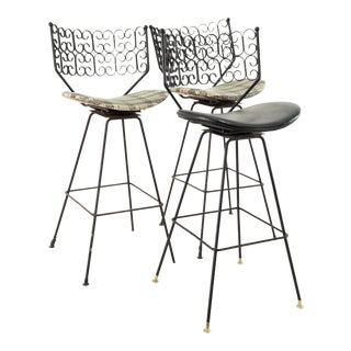 Arthur Umanoff for Howard Shaver Mid Century Iron Bar Stools - Set of 3 For Sale