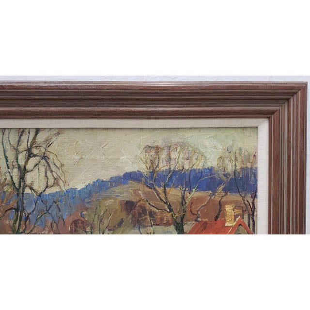 """Impressionist Fern Coppedge (American, 1883-1951) """"Winter - New Hope"""" Original Oil Painting C.1920 For Sale - Image 3 of 9"""