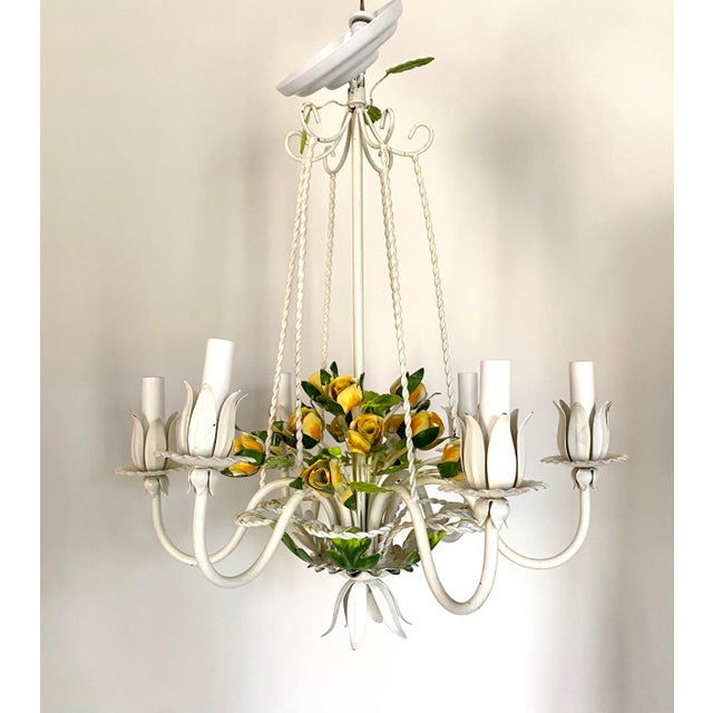 White Vintage Mid 20th Century 6 Arm Tole Chandelier For Sale - Image 8 of 8