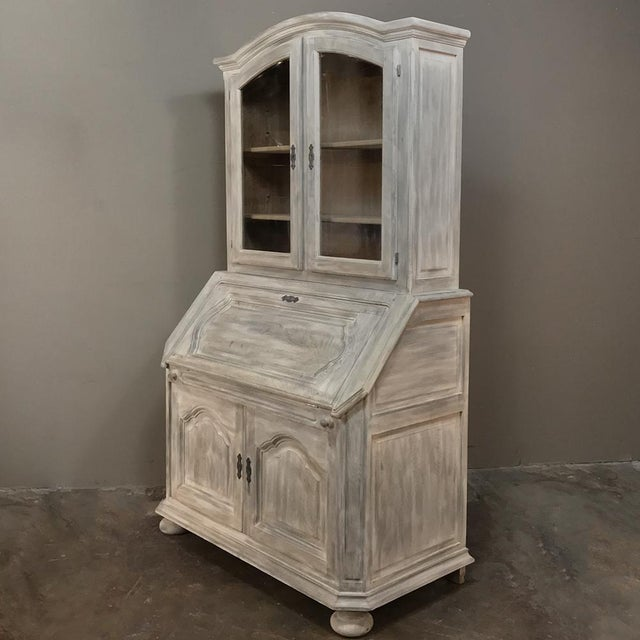 French Rustic Antique Country French Whitewashed Secretary ~ Bookcase For Sale - Image 3 of 13