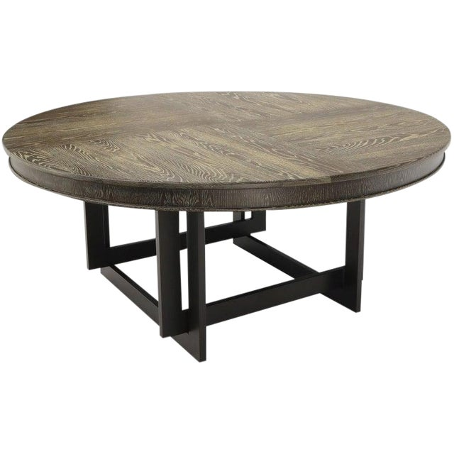 Large Oversize in Diameter Round Cerused Limed Oak Dining Table For Sale
