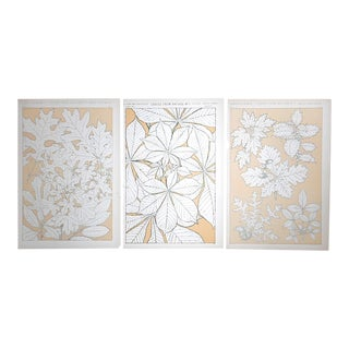 Set of 3-Authentic Antique Lithographs-Ornamental Designs-Botanical Leaves For Sale