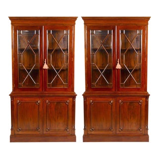 English Georgian Style Mahogany Bookcases or Breakfronts - a Pair