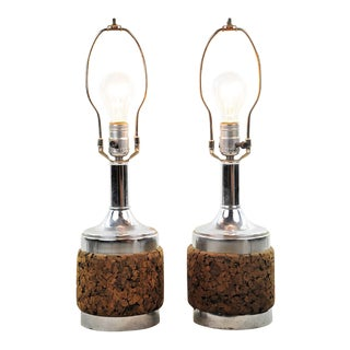 Mid-Century Modern Cork and Chrome Table Lamps - a Pair For Sale