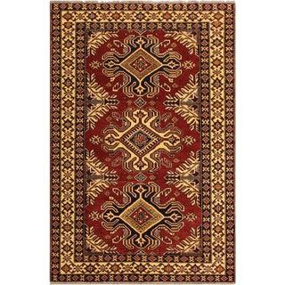 Super Kazak Garish Jamika Red/Ivory Wool Rug - 4'1 X 6'0