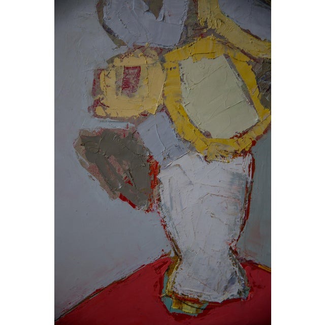 """Abstract Bill Tansey """"Yellow"""" Abstarct Floral Oil Painting on Canvas For Sale - Image 3 of 5"""