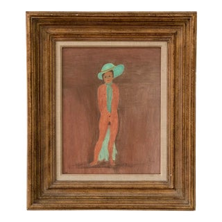 Green and Pink Nude Lady With Hat Signed