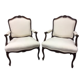 Upholstered French Bergere Sherrill Chairs - A Pair For Sale