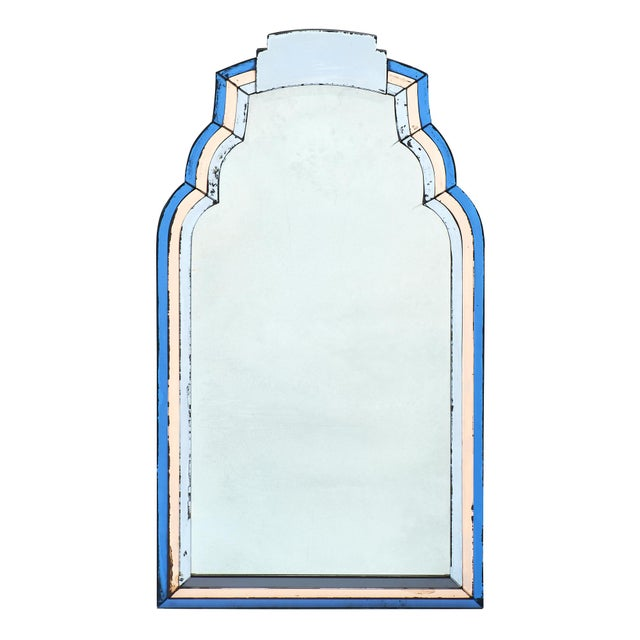 French Vintage Blue and Pink Mirror For Sale - Image 10 of 10