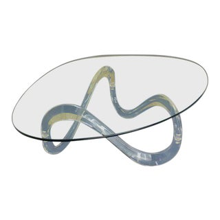 Mid-Century Modern Kidney Shaped Glass Top Lucite Base Coffee Table For Sale