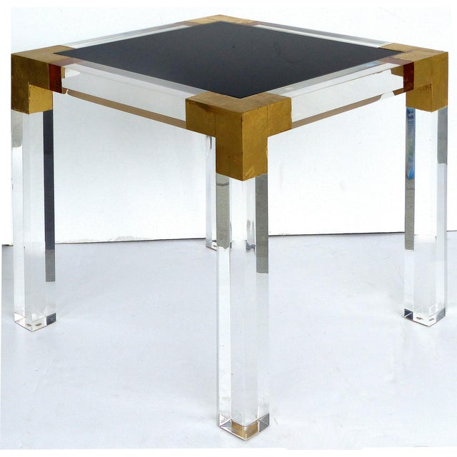 Custom Lucite Side Table W/ Interchangeable Tops & Gold Leaf Accents For Sale - Image 10 of 10