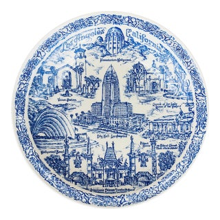 Vintage Vernon Kilns Blue & White Souvenir Plate of Los Angeles California For Sale