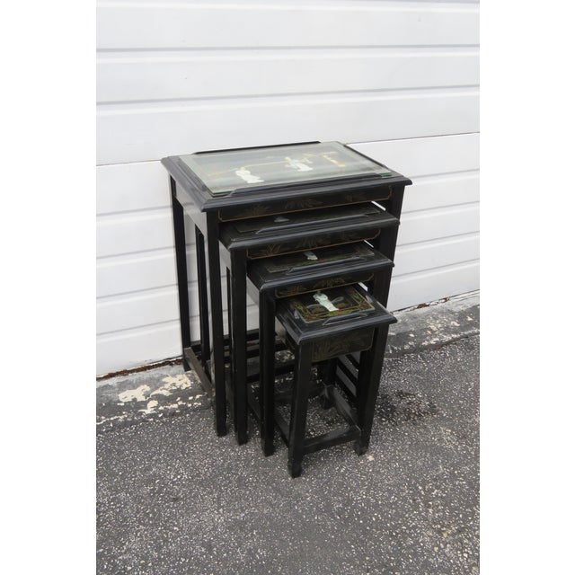 Oriental Black Painted Nesting Tables Set of Four For Sale - Image 13 of 13