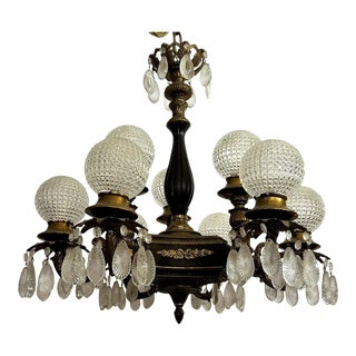Circa 1895 Empire Style 9 Light Chandelier, Cut Glass and Bronze With Brass Applique For Sale