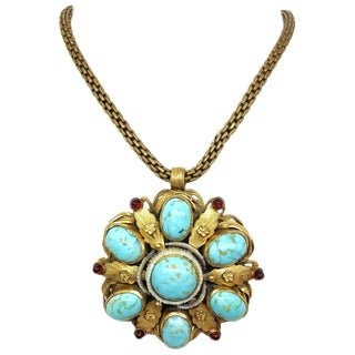 1940s Ernest Steiner Blue and Gold Jeweled Pendant Necklace For Sale