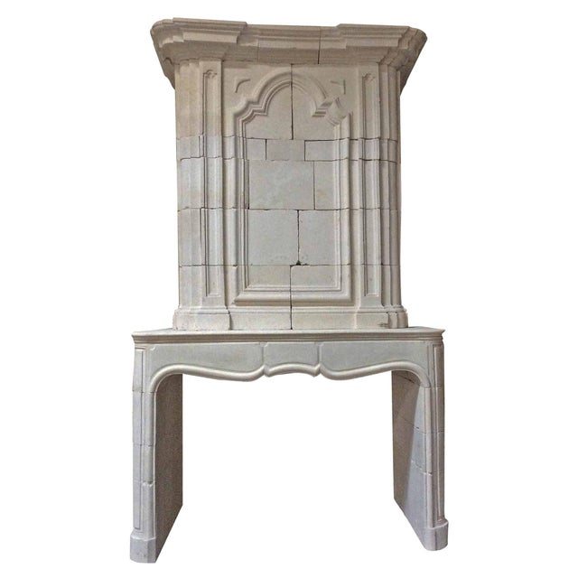 Off-white Antique Limestone Mantel with Trumeau For Sale - Image 8 of 8