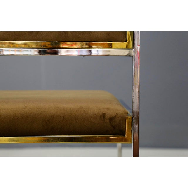 Willy Rizzo Willy Rizzo Set of Six MidCentury Chair in Brass and Chamois, 1960s For Sale - Image 4 of 9