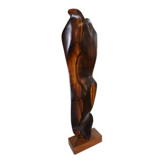 Abstract Figural Rosewood Sculpture For Sale