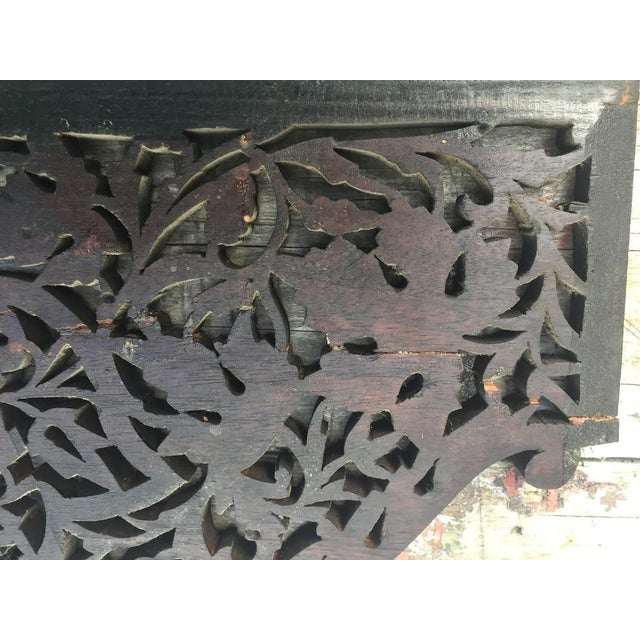 4-Panel East Indian Hand Carved Wood Screen Divider For Sale - Image 12 of 13