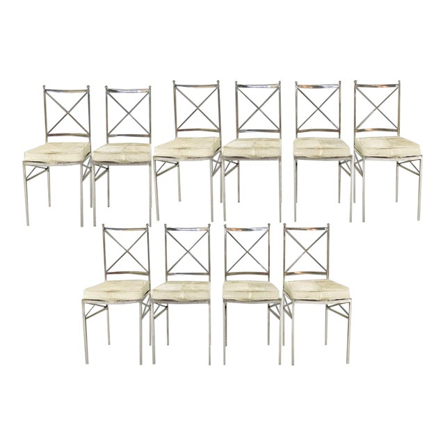 Forsyth One of a Kind Mid-Century Swedish Polished Steel Dining Chairs With Custom Ivory Cowhide Cushions - Set of 10 For Sale