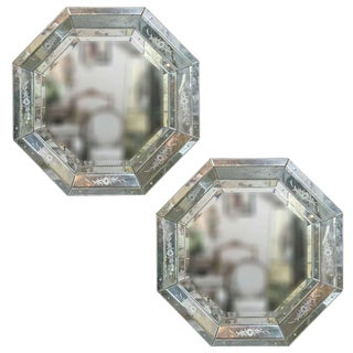 Venetian Style Hollywood Regency Mini Octagon Mirrors - A Pair For Sale