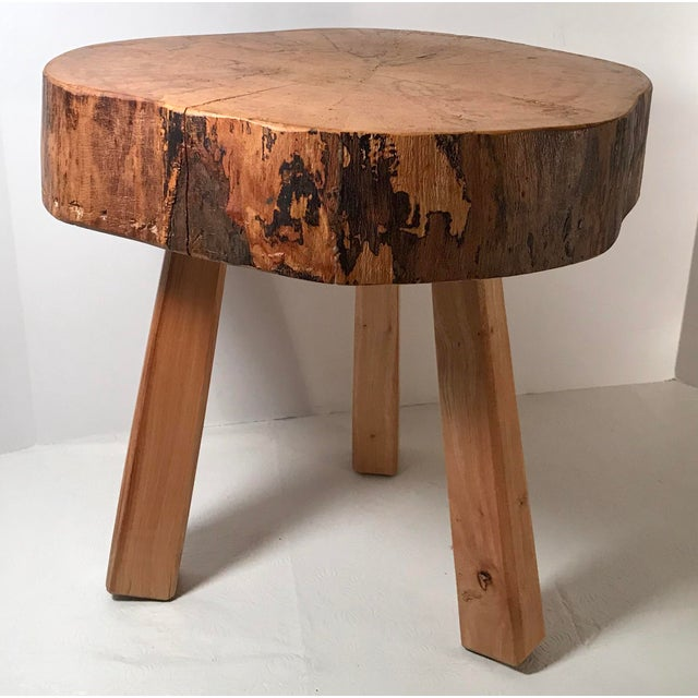 Beautiful wood Slice Stool with live edge and wooden legs. Could also be used as a plant stand.