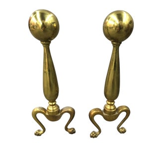 Vintage Brass Andirons - A Pair