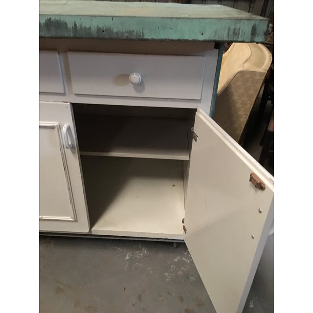 Vintage Copper Top Chippy Wood Cabinet - Image 6 of 6