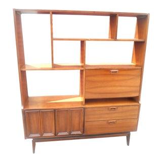 1960s Danish Modern Walnut Room Bookcase/Wall Cabinet