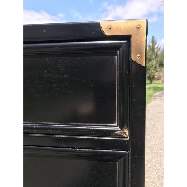 """Mid 20th Century Ebonized and Brass """"the Lotus"""" Highboy Dresser by Kent Coffey For Sale - Image 5 of 6"""