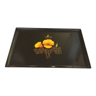 Mid - Century Curoc - of Monterey Black Resin Tray For Sale