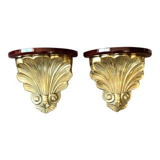Hollywood Regency Brass Seashell Brackets - a Pair For Sale