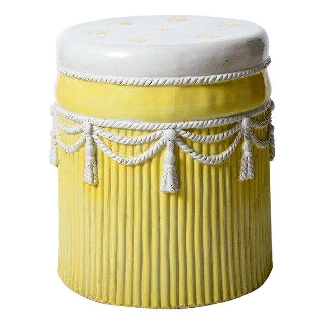 1960s Italian Vintage Yellow & White Ceramic Garden Stool Hollywood Regency Palm Beach For Sale - Image 5 of 5