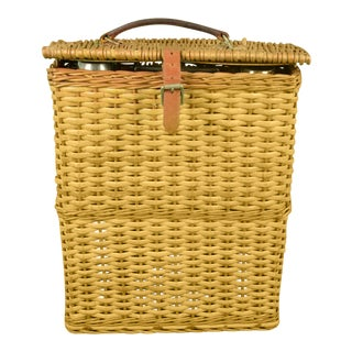 Abercrombie & Fitch English Wicker Hamper with Hot & Cold Thermos & Sandwich Tin For Sale