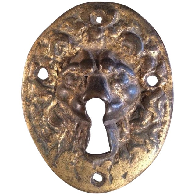 18th Century Gilt Bronze Lion Escutcheon For Sale