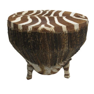 African Zebra Hide Drum Table For Sale
